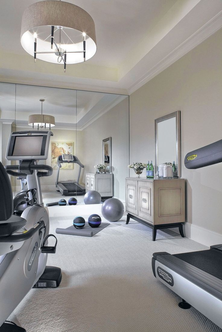 Excellent Home Gym Room Decorating Ideas : Extraordinary Home Gym Room Designs Ideas In White Theme