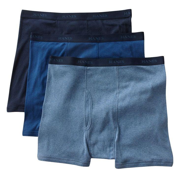 Big & Tall Hanes Classics 3-pack Fresh IQ Boxer Briefs, Blue
