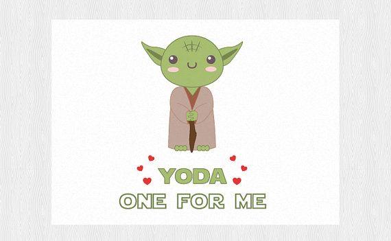 "Yoda Valentine's day card -  ""Yoda one for me"" - PDF DIY Printable 6x4 inch - Star Wars Jedi funny anniversary card"