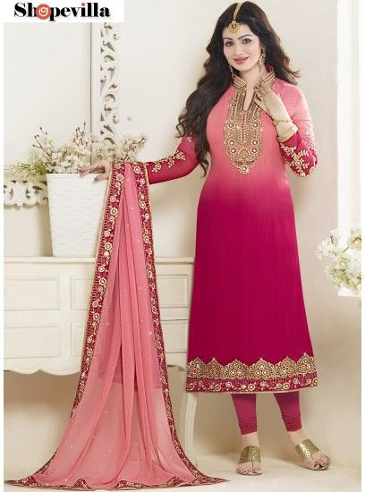 Pink Shaded Georgette Churidar Suit-21059