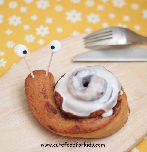 Snail Cinnamon Roll Breakfast idea for kids