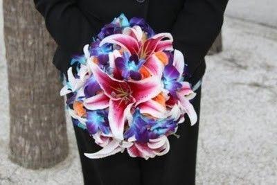 Stargazer Lilies, Blue Dendrobium Orchids, and Tropical Amazone Roses: Tropical Wedding, Wedding Bouquets, Stargazer Lilies, Dendrobium Orchids, Tropical Beaches, Tattoo Flower, Wedding Flower, Florida Beaches, Beaches Wedding