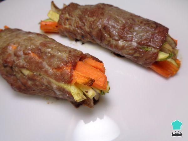 Receita de Bife recheado com legumes - Fácil