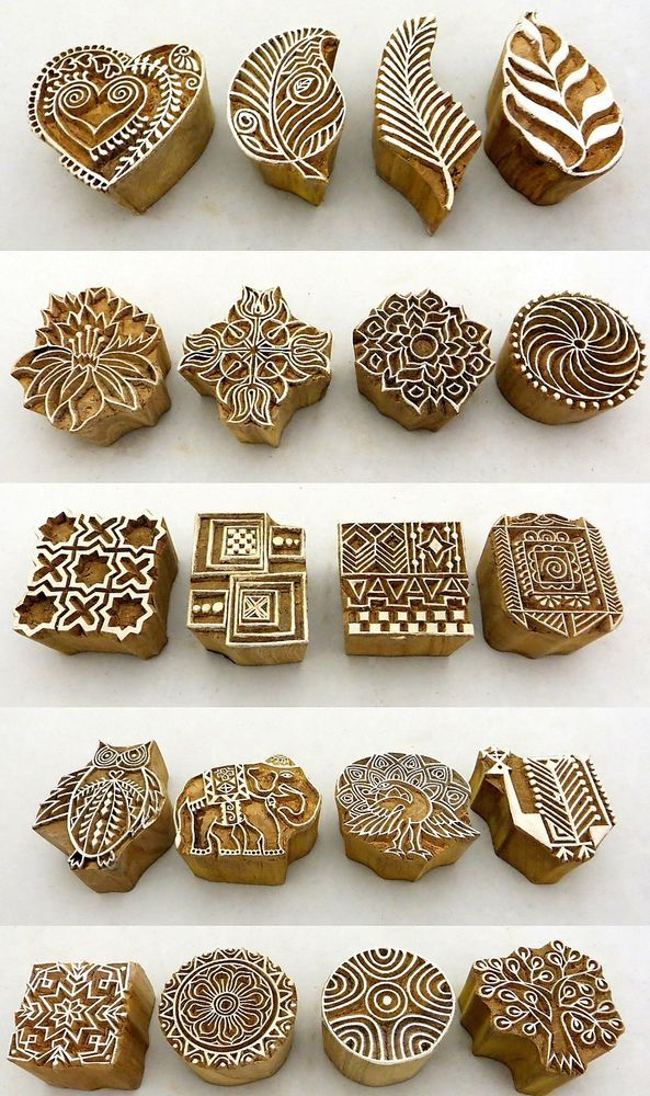 Hand Carved Wooden Block Printed Indian Stamps - Wood Printing Stamping Supplies もっと見る