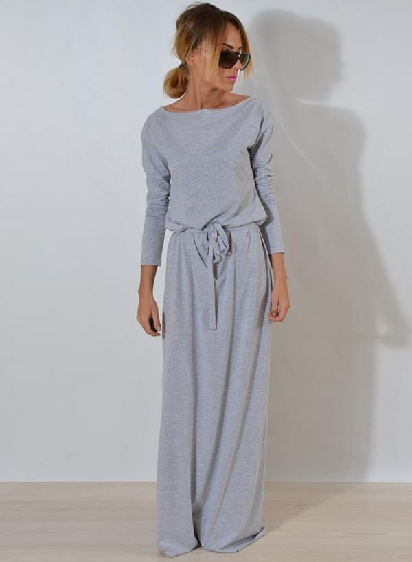 7255dfda229 Women s Round Neck Long Sleeve Solid Color Maxi Dress - ROAWE.COM ...
