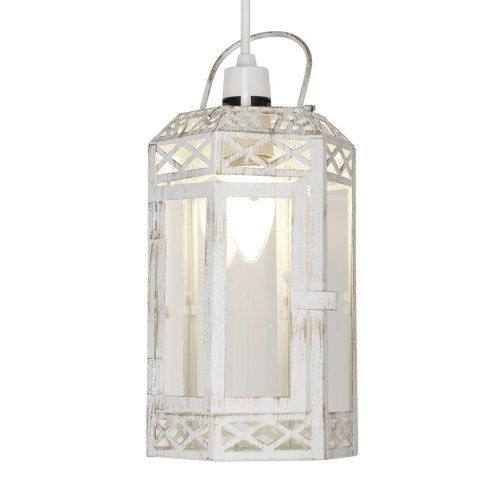 Distressed White Metal u0026 Glass Shabby Chic Lantern Ceiling Pendant Shade by  LSE