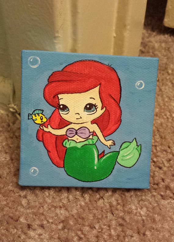 little mermaid mini canvas painting too cute beaches