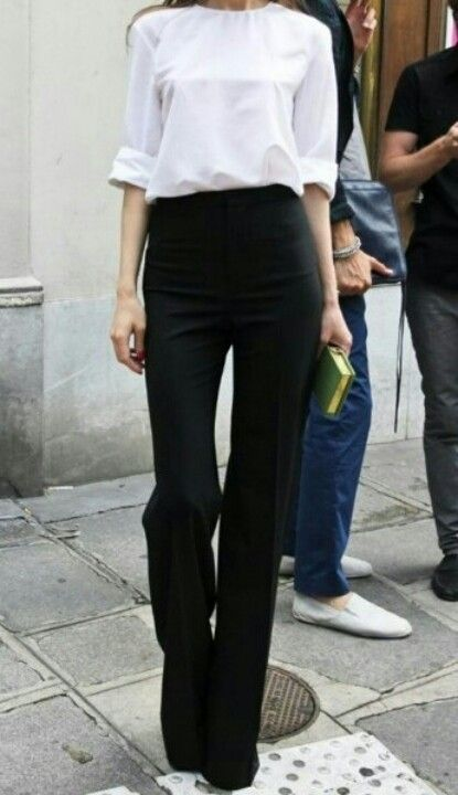 High waisted black pants with white blouse