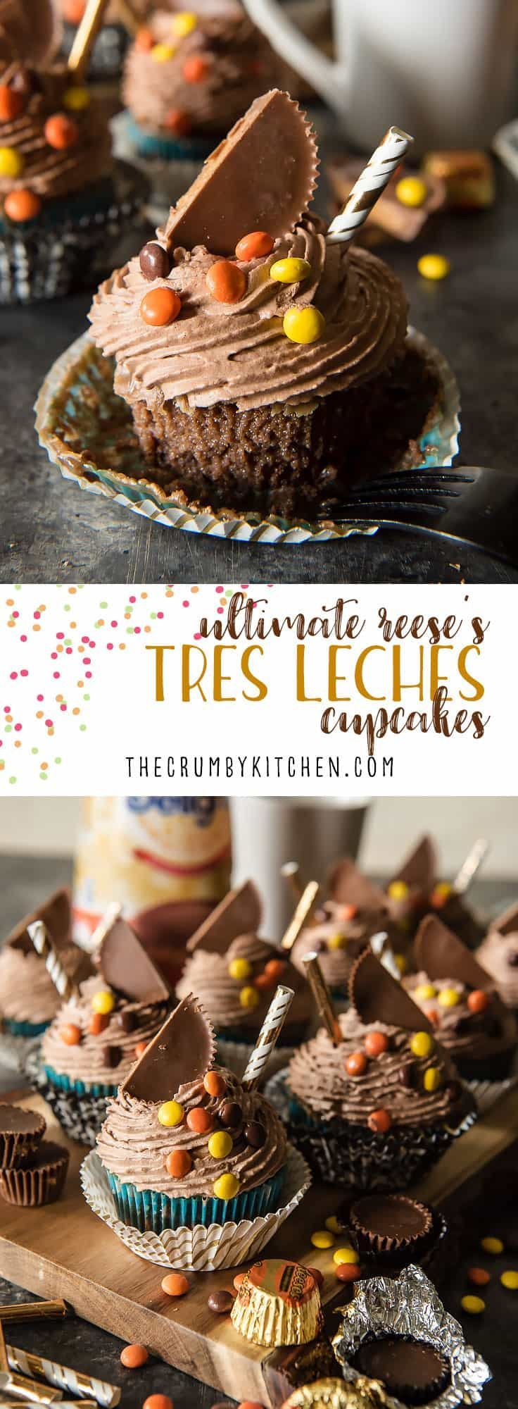These super-moist, delicious Ultimate REESE'S Tres Leches Cupcakestake classic tres leches cake, shrink it down, and add a fun peanut butter twist! The ganache and chocolate whipped cream truly make these treats irresistible! #chocolate #tresleches #cupcake #reeses #peanutbutter #dessert #recipe