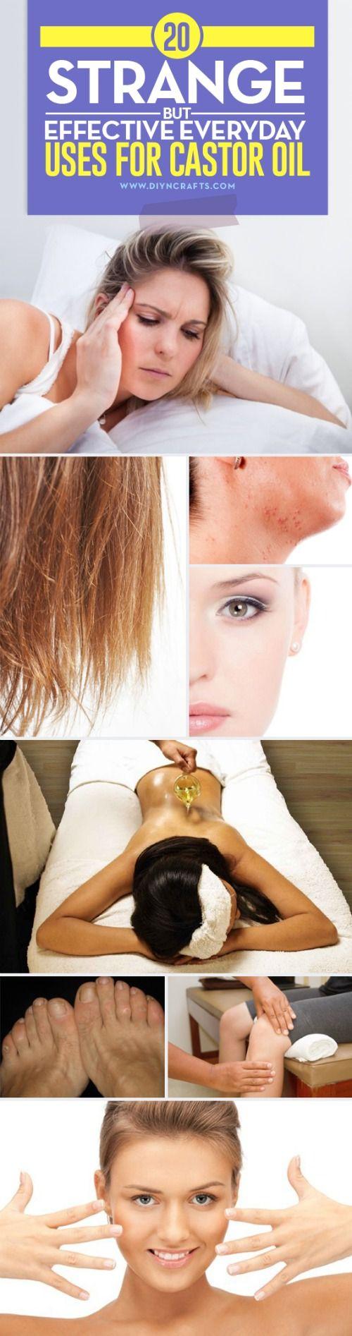 20 Strange but Effective Everyday Uses for Castor Oil via @vanessacrafting #health #beauty #castoroil