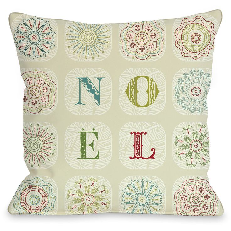 """Boho Noel"""" Indoor Throw Pillow by OneBellaCasa, 16""""x16"""