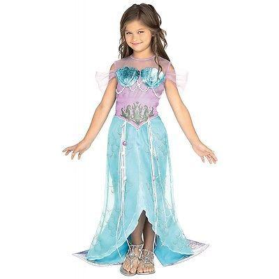 Deluxe Mermaid Costume Kids Little Ariel Halloween Fancy Dress