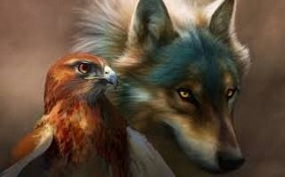 Eagle/Wolf: The Mighty Eagle Flys. The Great Wolf Strides. The Majestic Eagle Sends Out A Percing Cry. The Beast Of The Wolf Sends Out A Howling In The Moon Lit Sky. The Beautiful Majestic Eagle Is A...