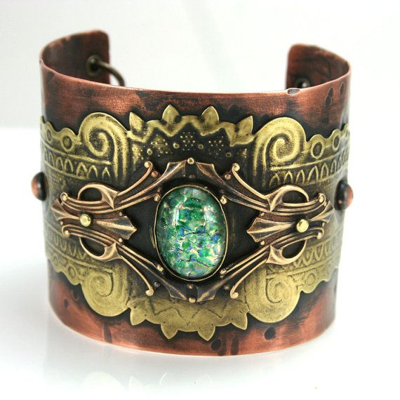 Vintage Style Bohemian Gypsy Cuff with Czech Green Cab by TheGypsySage, $180.00