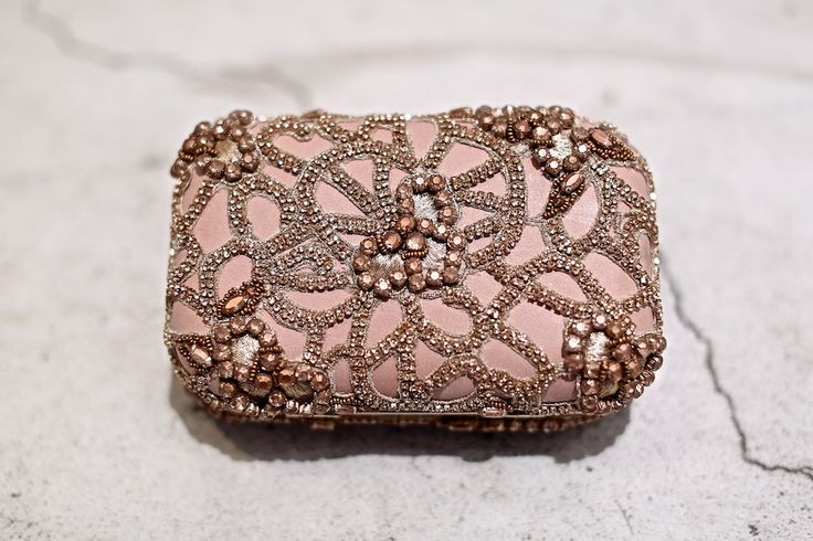 Rose gold and beads xo ... Alice + Olivia beaded minaudiere clutch ...