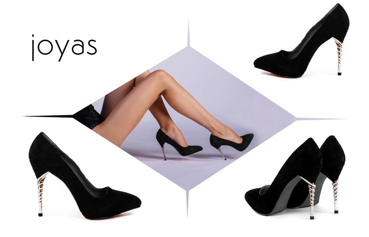 Black Zoe shoes with spiral heels and camoso leather @joyasromania