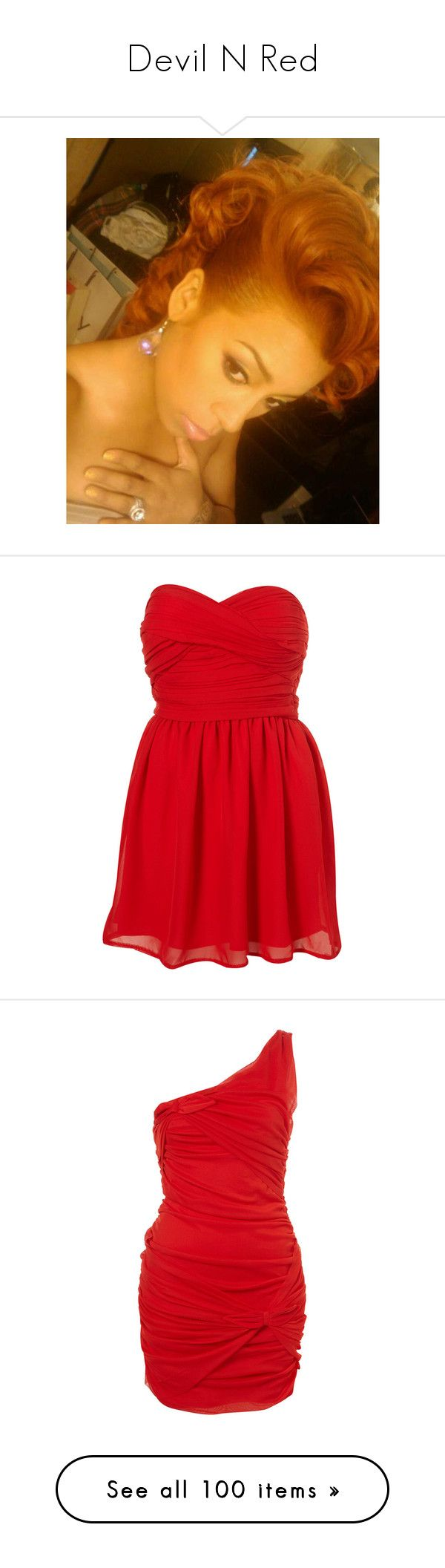 """Devil N Red"" by missfiasco ❤ liked on Polyvore featuring celebs, keyshia cole, people, dresses, vestidos, robe, red, red chiffon dress, red bandeau dress and red babydoll dress"