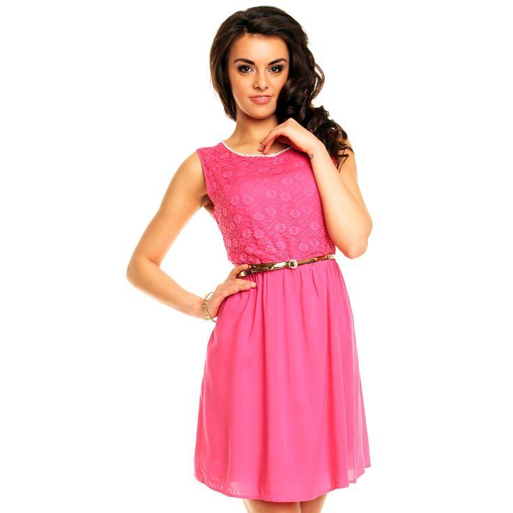 Dámské společenské šaty s krajkovým vrchním dílem růžové