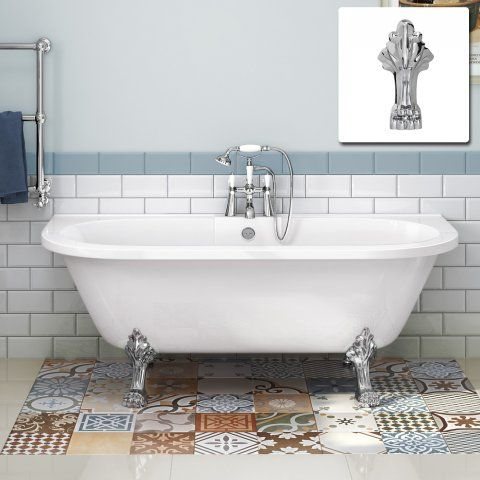 1710mm Victoria Back To Wall Traditional Roll Top Bath - Dragon Feet - Large