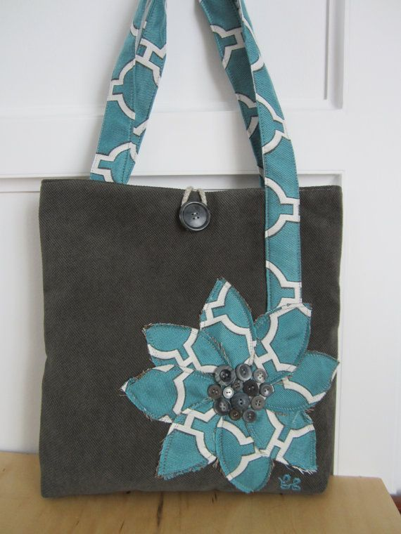 Grey and turquoise tote bag handmade lined by BerkshireCollections, $41.00