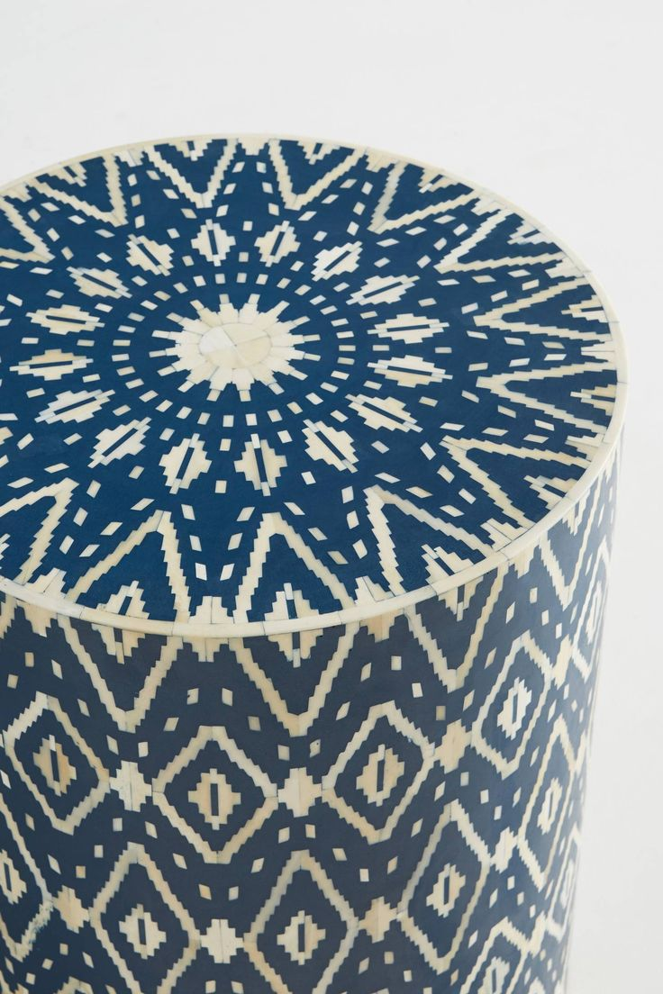 Slide View: 3: Ikat Inlay Drum Side Table