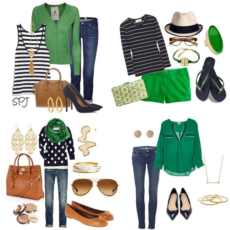 Green sweater over navy tank with light denim skinny jeans