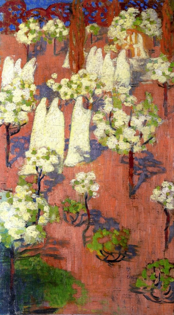 "Maurice Denis - ""Virginal Spring (Flowering Apple Trees)"" oil on canvas, 1894, 57.2 x 32.5 cm."