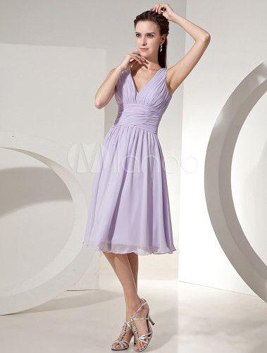 Robe demoiselle d'honneur lavande plissé de col V - Milanoo.com