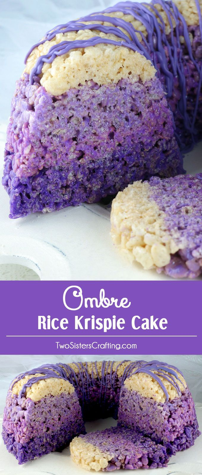 Ombre Rice Krispie Cake - gorgeous, delicious and unique!  This lovely purple ombre dessert will be a hit with your family or your party guests because who doesn't love Rice Krispie Treats? So yummy and so easy to make you'll want to make this yummy cake again and again. Pin for later and follow us for more great Rice Krispie Treats recipes.