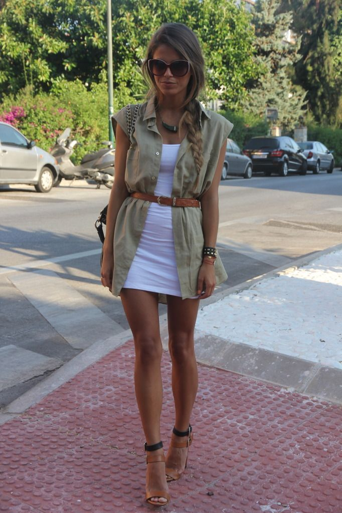 : Minis Dresses, Fashion Style, Summer Style, Outfit, Military Style, Neutral Layered, Summer Chic, White Dresses, Style Tips