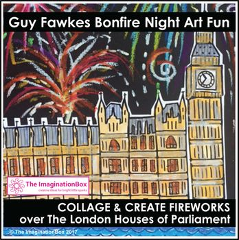 Celebrate Bonfire Night / Guy Fawkes Night, the Fifth of November with this imaginative, experimental art activity. Invite students to create fireworks and flames over the historic London Houses of Parliament. This easy to use creative activity involves coloring, painting, cutting, tearing, glueing and mark making.