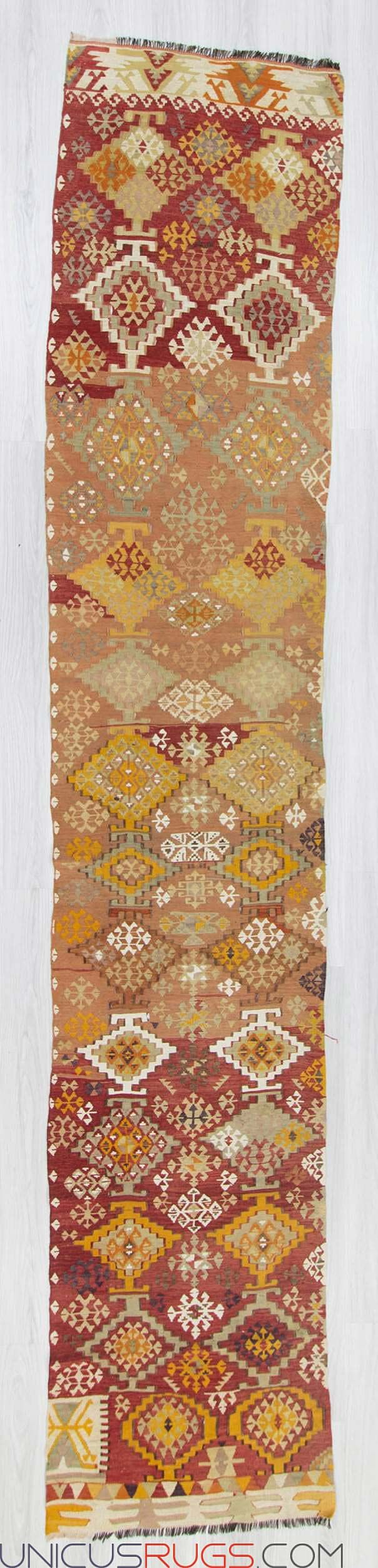 """Vintage kilim runner from Adana region of Turkey. In very good condition. Approximately 60-70 years old Width: 2' 6"""" - Length: 13' 0"""" RUNNERS"""