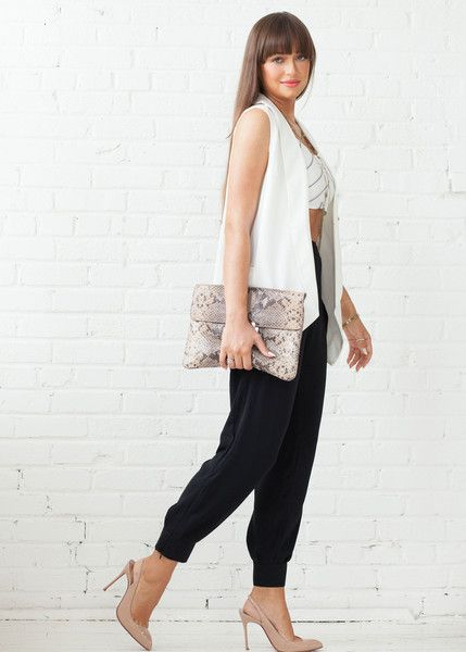 COVETED LOOK - 5 A 7   Featured: Ava Woven Trouser in black, Beckette Blazer Vest in white & Beverly Stripe Crop www.covetedbasics.com