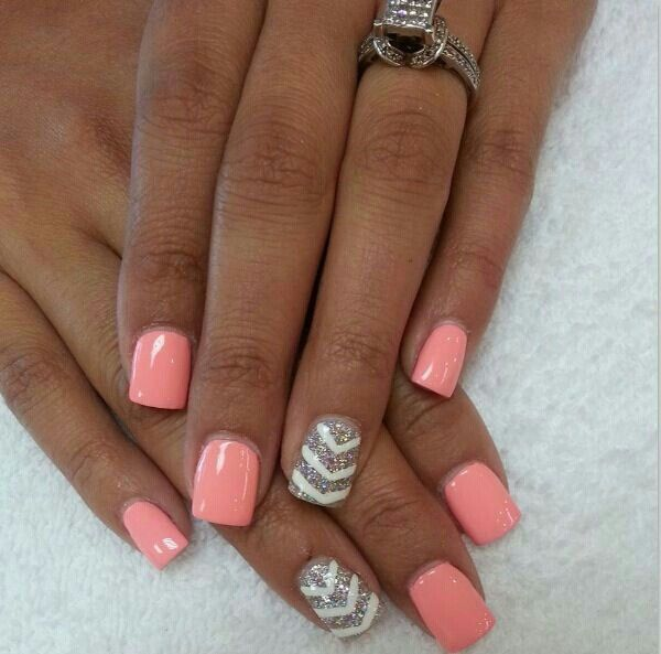Coral#nails#manicure