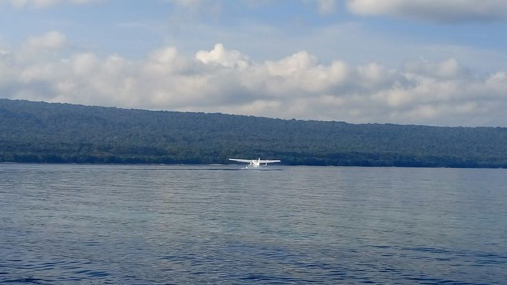 Seaplane take-off at moyo island sumbawa