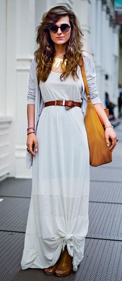 belted maxi + subtle ombre.