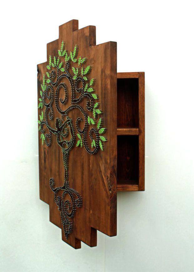 Tree Of Life String Art Home Decor Wall Cabinet Essential Oil Storage