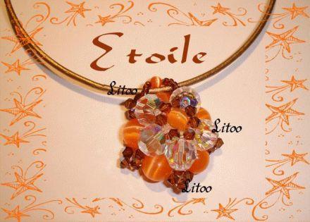 Pendentif Etoile en Cristal de Swarovski et Oeil de Chat