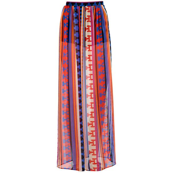 MSGM Sheer Long Skirt (980 DKK) ❤ liked on Polyvore featuring skirts, bottoms, maxi skirts, faldas, multi color maxi skirt, see through skirt, long blue skirt, red skirts and aztec print skirt