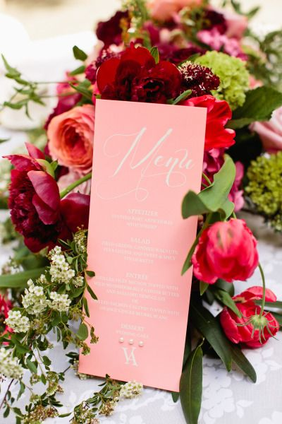 Wedding full of pinks and deep reds: http://www.stylemepretty.com/texas-weddings/dallas/2014/09/29/modern-romeo-and-juliet-inspired-shoot/ | Photography: Lindsey Shea - http://www.lindseysheaphotography.com/