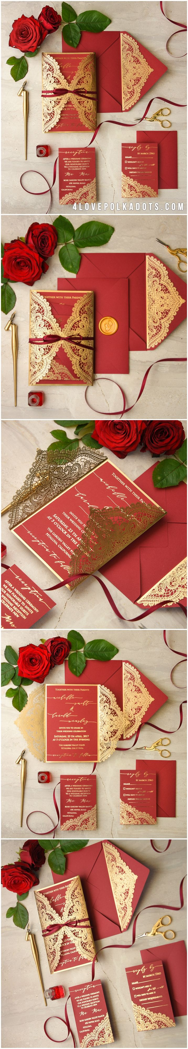 Invitation that uses the color red 701
