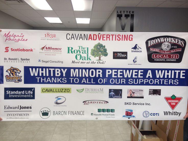 3'x6' digital print sponsor banner completed with hem ...