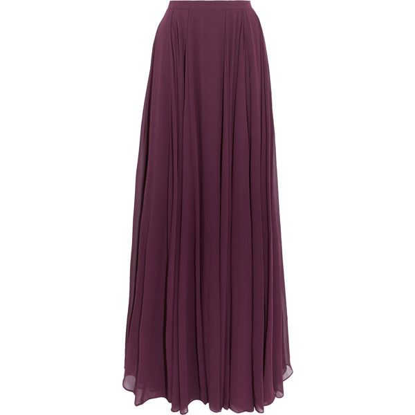 Halston Heritage Pleated georgette maxi skirt ($245) ❤ liked on Polyvore featuring skirts, bottoms, maxi skirt, faldas, grape, purple pleated skirt, halston heritage, georgette skirt and ankle length skirt