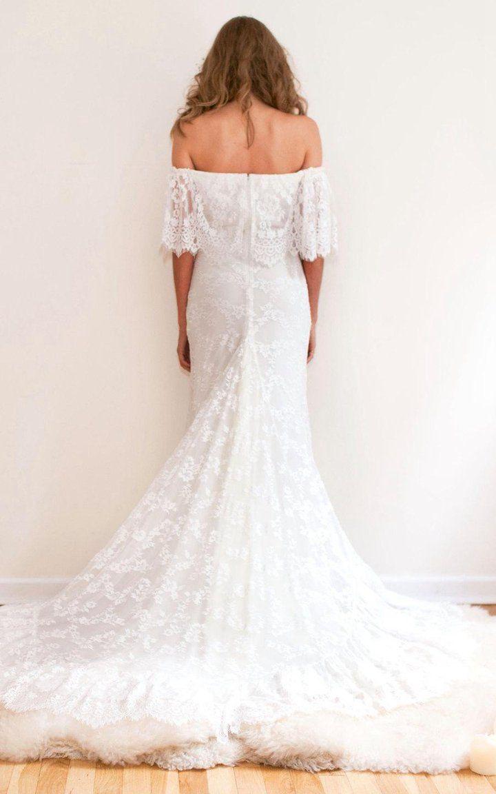 Boho offshoulder sheath scalloped lace wedding dress with long