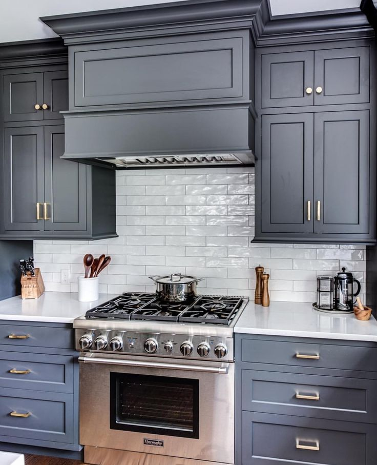 Harmonious Kitchen Paint Colors With Maple Cabinets: Cabinet Color: Wrought Iron By Benjamin Moore Range And