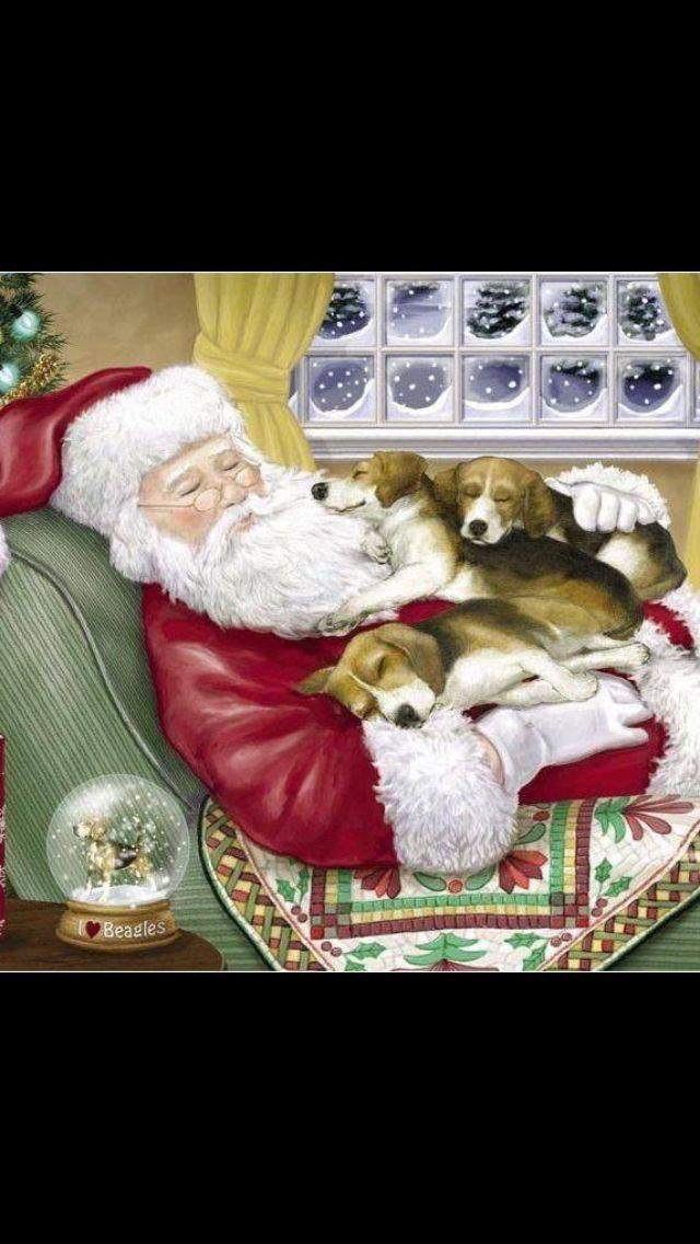Now this is the kinda Christmas card I'd loooove!! :) #Beagles #Christmas #SandyClaws