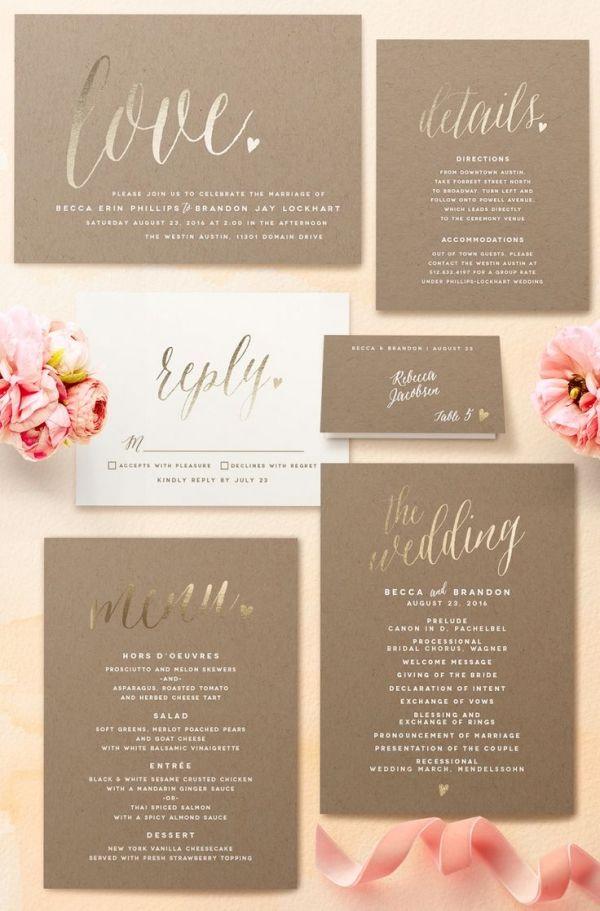 Love Foil Pressed Wedding Invitation   Minted