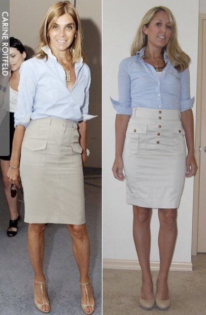 Blue button down skirt celebrity
