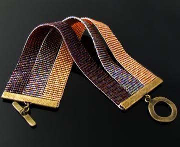 Bead loomed casual three strip bracelet