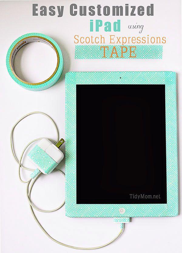 Easy Customized iPad using washi tape at TidyMom.net